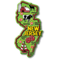 """New Jersey Colorful State Magnet by Classic Magnets, 2.2"""" x 4.4"""", Collectible Souvenirs Made in the USA"""