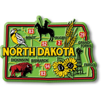 """North Dakota Colorful State Magnet by Classic Magnets, 3.4"""" 2.3"""", Collectible Souvenirs Made in the USA"""