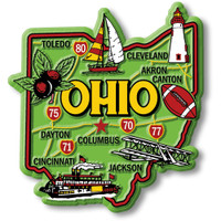 """Ohio Colorful State Magnet by Classic Magnets, 2.9"""" x 3.1"""", Collectible Souvenirs Made in the USA"""