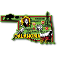 """Oklahoma Colorful State Magnet by Classic Magnets, 4.2"""" x 2.5"""", Collectible Souvenirs Made in the USA"""
