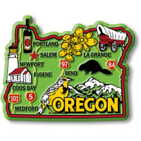 """Oregon Colorful State Magnet by Classic Magnets, 3.2"""" x 2.5"""", Collectible Souvenirs Made in the USA"""