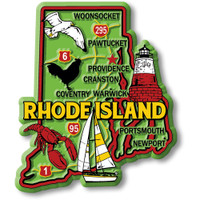 """Rhode Island Colorful State Magnet by Classic Magnets, 2.8"""" x 3.3"""", Collectible Souvenirs Made in the USA"""