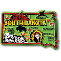 """South Dakota Colorful State Magnet by Classic Magnets, 3.4"""" x 2.3"""", Collectible Souvenirs Made in the USA"""