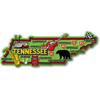 """Tennessee Colorful State Magnet by Classic Magnets, 5.1"""" x 1.9"""", Collectible Souvenirs Made in the USA"""