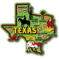 """Texas Colorful State Magnet by Classic Magnets, 3.5"""" x 3.3"""", Collectible Souvenirs Made in the USA"""