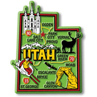"""Utah Colorful State Magnet by Classic Magnets, 2.6"""" x 3.3"""", Collectible Souvenirs Made in the USA"""