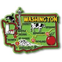 """Washington Colorful State Magnet by Classic Magnets, 3.3"""" x 2.6"""", Collectible Souvenirs Made in the USA"""