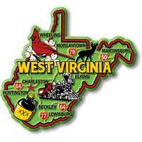 """West Virginia Colorful State Magnet by Classic Magnets, 3.7"""" x 3.4"""", Collectible Souvenirs Made in the USA"""