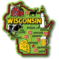 """Wisconsin Colorful State Magnet by Classic Magnets, 2.9"""" x 3.1"""", Collectible Souvenirs Made in the USA"""