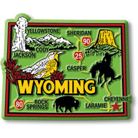 """Wyoming Colorful State Magnet by Classic Magnets, 3"""" x 2.4"""", Collectible Souvenirs Made in the USA"""