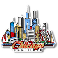 Chicago City Magnet by Classic Magnets, Collectible Souvenirs Made in the USA