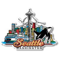 Seattle City Magnet by Classic Magnets, Collectible Souvenirs Made in the USA
