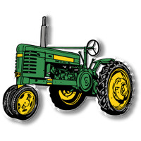 Vintage Green & Yellow Tripod Tractor Magnet by Classic Magnets, Collectible Souvenirs Made in the USA