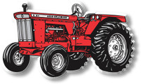 Red with Wide Front Tractor Magnet by Classic Magnets, Collectible Souvenirs Made in the USA