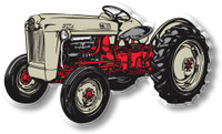 Vintage Gray & Red Tractor Magnet by Classic Magnets, Collectible Souvenirs Made in the USA