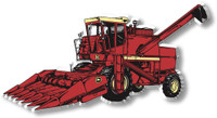 Big Red Combine Tractor Magnet by Classic Magnets, Collectible Souvenirs Made in the USA