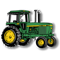 Green & Yellow Tractor with Cab Magnet by Classic Magnets, Collectible Souvenirs Made in the USA