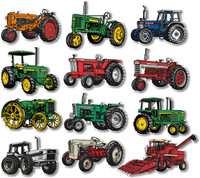Farm Tractor Magnets Set of 12 by Classic Magnets, Collectible Souvenirs Made in the USA