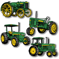 Green & Yellow Tractor Magnet Setof 4 by Classic Magnets, Collectible Souvenirs Made in the USA