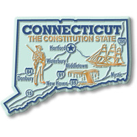 """Connecticut Giant State Magnet by Classic Magnets, 3.7"""" x 2.8"""", Collectible Souvenirs Made in the USA"""
