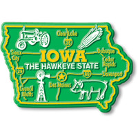 """Iowa Giant State Magnet by Classic Magnets, 3.7"""" x 2.5"""", Collectible Souvenirs Made in the USA"""