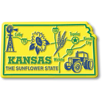 """Kansas Giant State Magnet by Classic Magnets, 3.7"""" x 2.5"""", Collectible Souvenirs Made in the USA"""