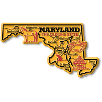 """Maryland Giant State Magnet by Classic Magnets, 5.2"""" x 2.9"""", Collectible Souvenirs Made in the USA"""