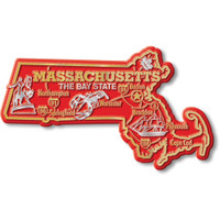 """Massachusetts Giant State Magnet by Classic Magnets, 4.9"""" x 2.9"""", Collectible Souvenirs Made in the USA"""