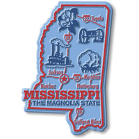 """Mississippi Giant State Magnet by Classic Magnets, 2.7"""" x 4"""", Collectible Souvenirs Made in the USA"""