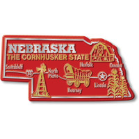 """Nebraska Giant State Magnet by Classic Magnets, 4.3"""" 2.2"""", Collectible Souvenirs Made in the USA"""