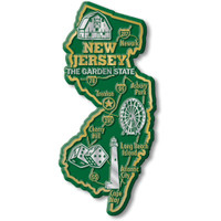 """New Jersey Giant State Magnet by Classic Magnets, 2.2"""" x 4.8"""", Collectible Souvenirs Made in the USA"""