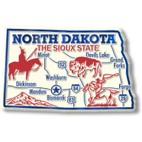 """North Dakota Giant State Magnet by Classic Magnets, 3.6"""" x 2.3"""", Collectible Souvenirs Made in the USA"""