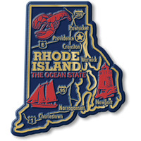 """Rhode Island Giant State Magnet by Classic Magnets, 3.1"""" x 3.7"""", Collectible Souvenirs Made in the USA"""