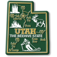 """Utah Giant State Magnet by Classic Magnets, 2.6"""" x 3.2"""", Collectible Souvenirs Made in the USA"""
