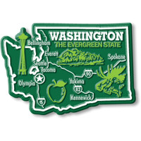 """Washington Giant State Magnet by Classic Magnets, 3.7"""" x 2.5"""", Collectible Souvenirs Made in the USA"""