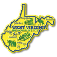 """West Virginia Giant State Magnet by Classic Magnets, 4.2"""" x 3.8"""", Collectible Souvenirs Made in the USA"""