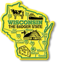 """Wisconsin Giant State Magnet by Classic Magnets, 3.2"""" x 2.5"""", Collectible Souvenirs Made in the USA"""