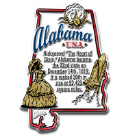 """Alabama Information State Magnet by Classic Magnets, 2.2"""" x 3.2"""", Collectible Souvenirs Made in the USA"""