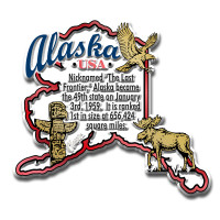 """Alaska Information State Magnet by Classic Magnets, 3"""" x 2.7"""", Collectible Souvenirs Made in the USA"""