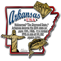 """Arkansas Information State Magnet by Classic Magnets, 2.8"""" x 2.7"""", Collectible Souvenirs Made in the USA"""