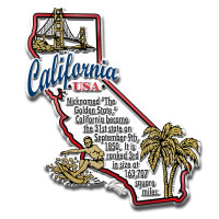 """California Information State Magnet by Classic Magnets, 2.8"""" x 3.3"""", Collectible Souvenirs Made in the USA"""