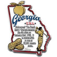 """Georgia Information State Magnet by Classic Magnets, 2.4"""" x 3.1"""", Collectible Souvenirs Made in the USA"""