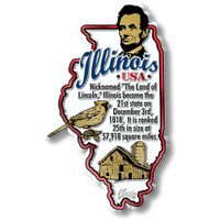 """Illinois Information State Magnet by Classic Magnets, 2.3"""" x 3.8"""", Collectible Souvenirs Made in the USA"""
