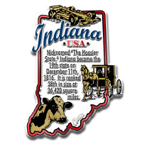 """Indiana Information State Magnet by Classic Magnets, 2.3"""" x 3.1"""", Collectible Souvenirs Made in the USA"""