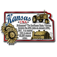 """Kansas Information State Magnet by Classic Magnets, 3.2"""" x 2.1"""", Collectible Souvenirs Made in the USA"""