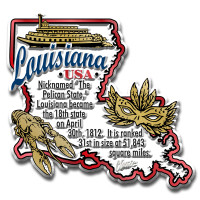 """Louisiana Information State Magnet by Classic Magnets, 2.8"""" x 2.7"""", Collectible Souvenirs Made in the USA"""