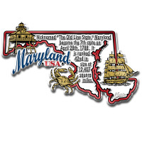"""Maryland Information State Magnet by Classic Magnets, 3.7"""" x 2.3"""", Collectible Souvenirs Made in the USA"""