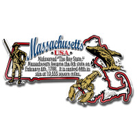 """Massachusetts Information State Magnet by Classic Magnets, 3.8"""" x 2.1"""", Collectible Souvenirs Made in the USA"""
