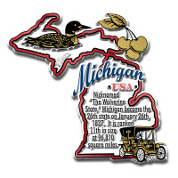 """Michigan Information State Magnet by Classic Magnets, 3.3"""" x 3.1"""", Collectible Souvenirs Made in the USA"""