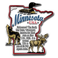 """Minnesota Information State Magnet by Classic Magnets, 2.6"""" x 2.9"""", Collectible Souvenirs Made in the USA"""
